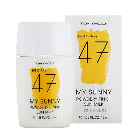 tonymoly my sunny powdery finish sun milk review