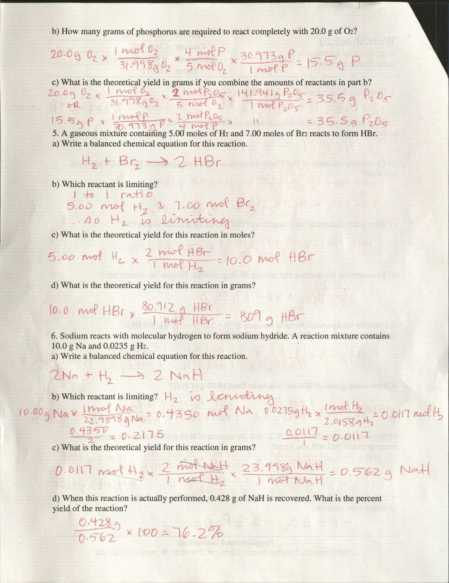 mole test review answer key