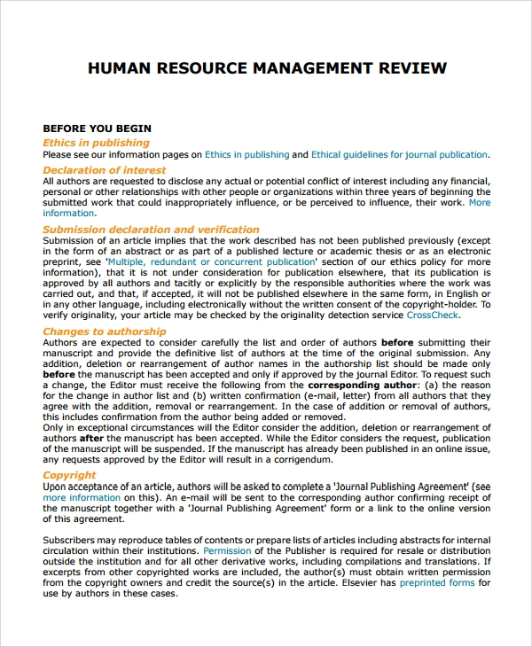 human resource management review pdf