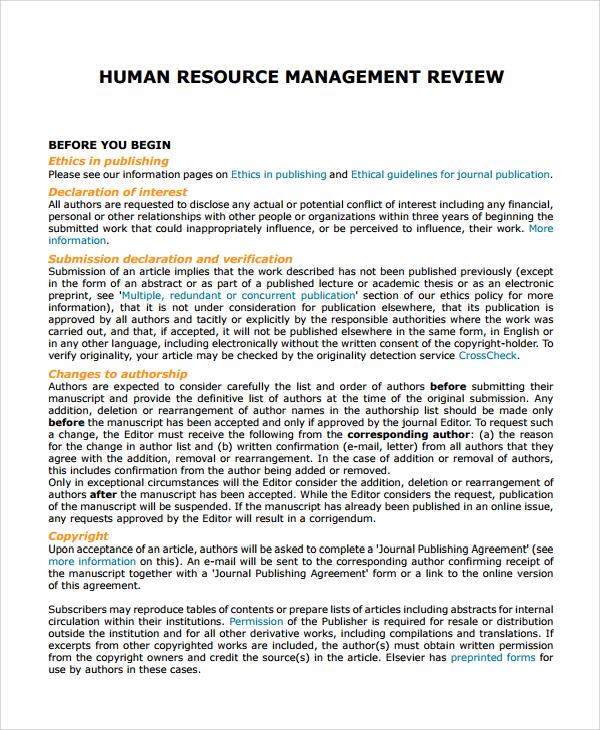 human resource management review pdf