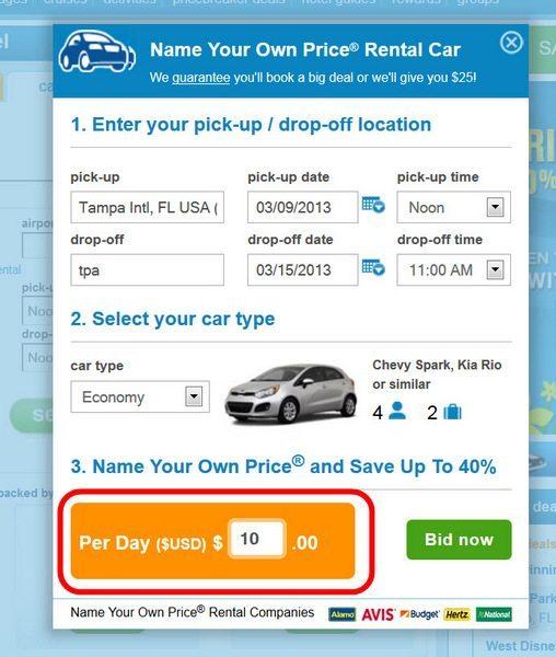 priceline car rental bid reviews