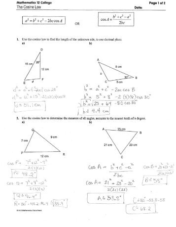 kuta software law of sines and cosines review worksheet answers