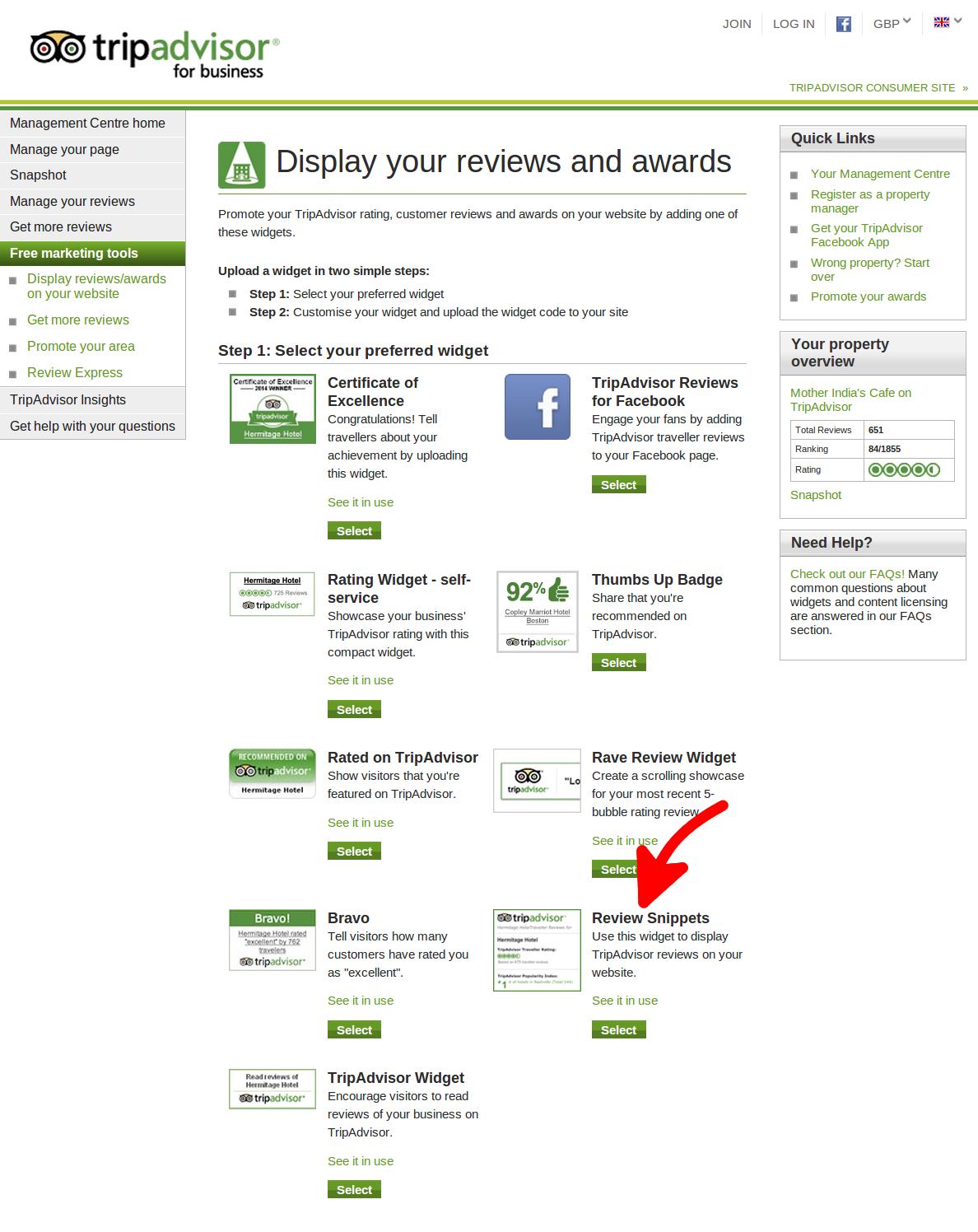 tripadvisor write a review widget