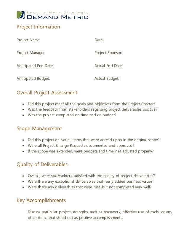 post project review report example