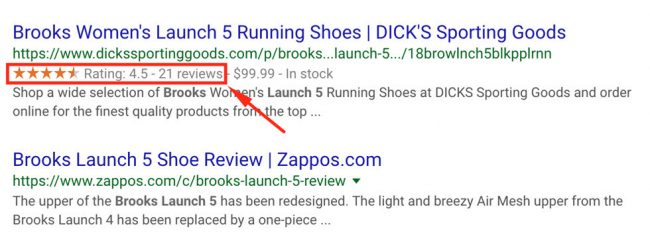 show reviews in google search results
